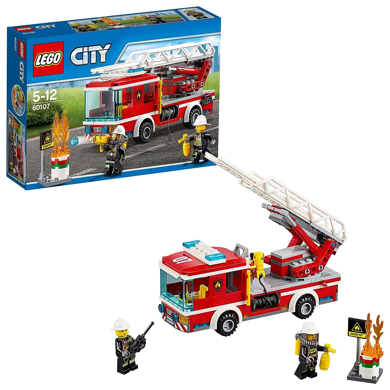 LEGO City 60107 - Feuerwehrfahrzeug mit fahrbarer Leiter, Cooles Spielzeug für Kinder No Name