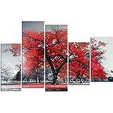 DekoArte 16 - Quadro di paesaggio moderno, tela a 5 pezzi, 150 x 100 cm, albero rosso con sfondo di colore bianco e nero