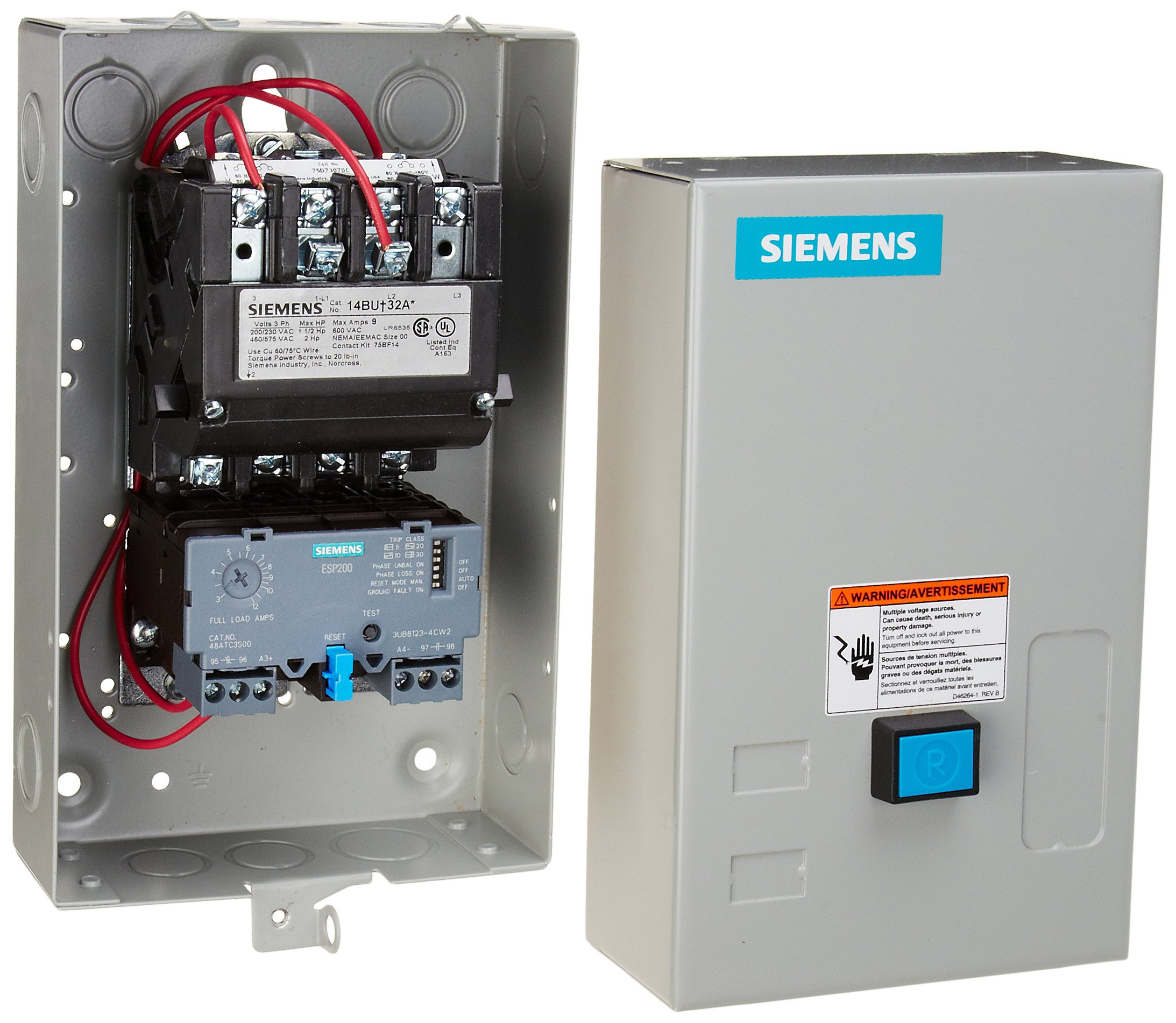 Siemens 14BUC32BC Heavy Duty Motor Starter, Solid State Overload, Auto/Manual Reset, Open Type, NEMA 1 General Purpose Enclosure, 3 Phase, 3 Pole, 00 NEMA Size, 3-12A Amp Range, A1 Frame Size, 220-240/440-480 at 60Hz Coil Voltage by SIEMENS (Image #1)