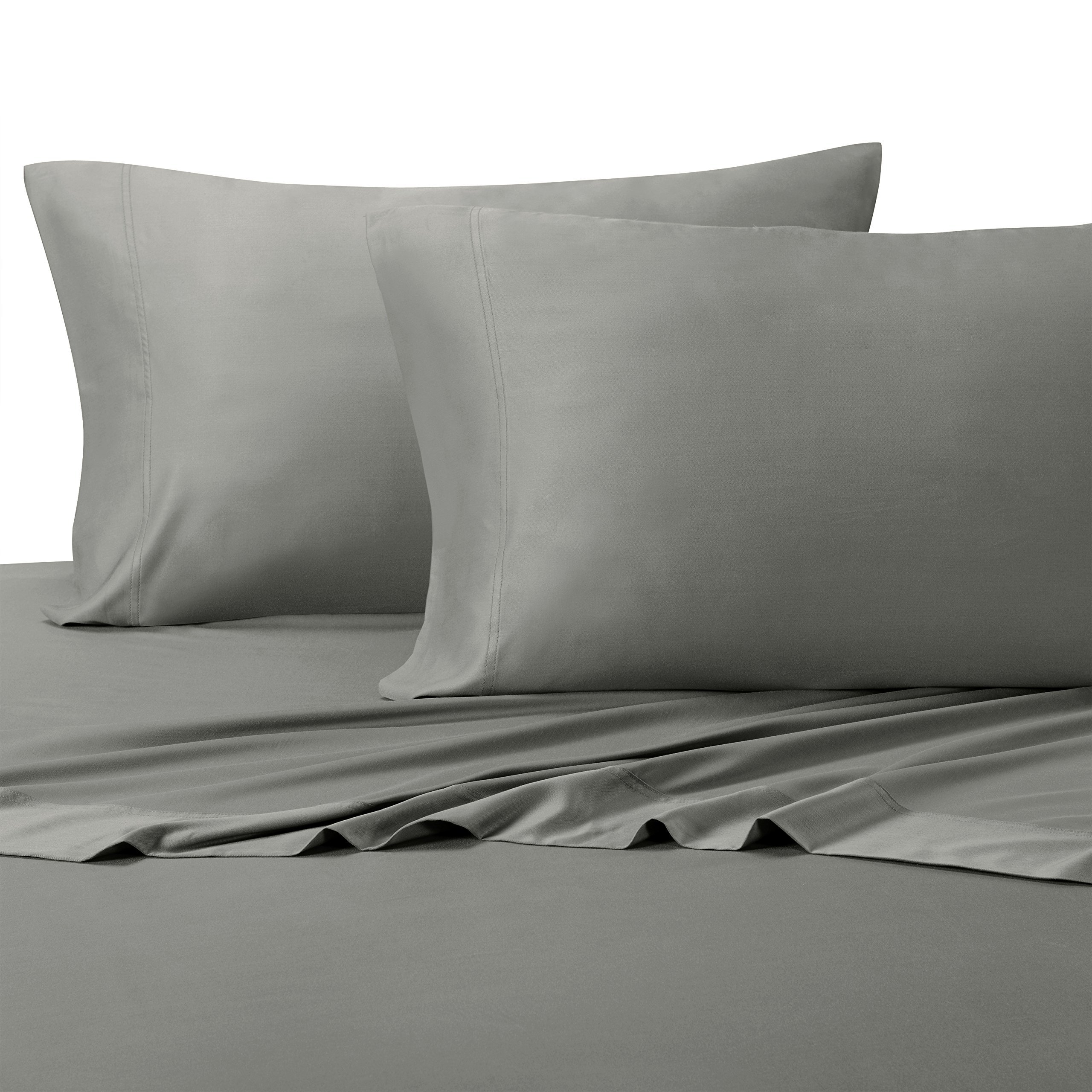Solid Gray King Size Sheets, 4PC Bed Sheet Set, 100% Cotton, 300 Thread Count, Sateen Solid, Deep Pocket, by Royal Hotel