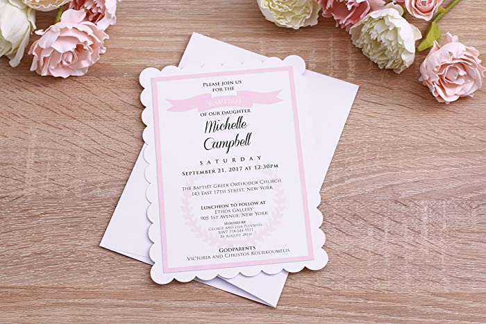 Amazon Com Baptism Invitations Girl Baby Christening Invitations