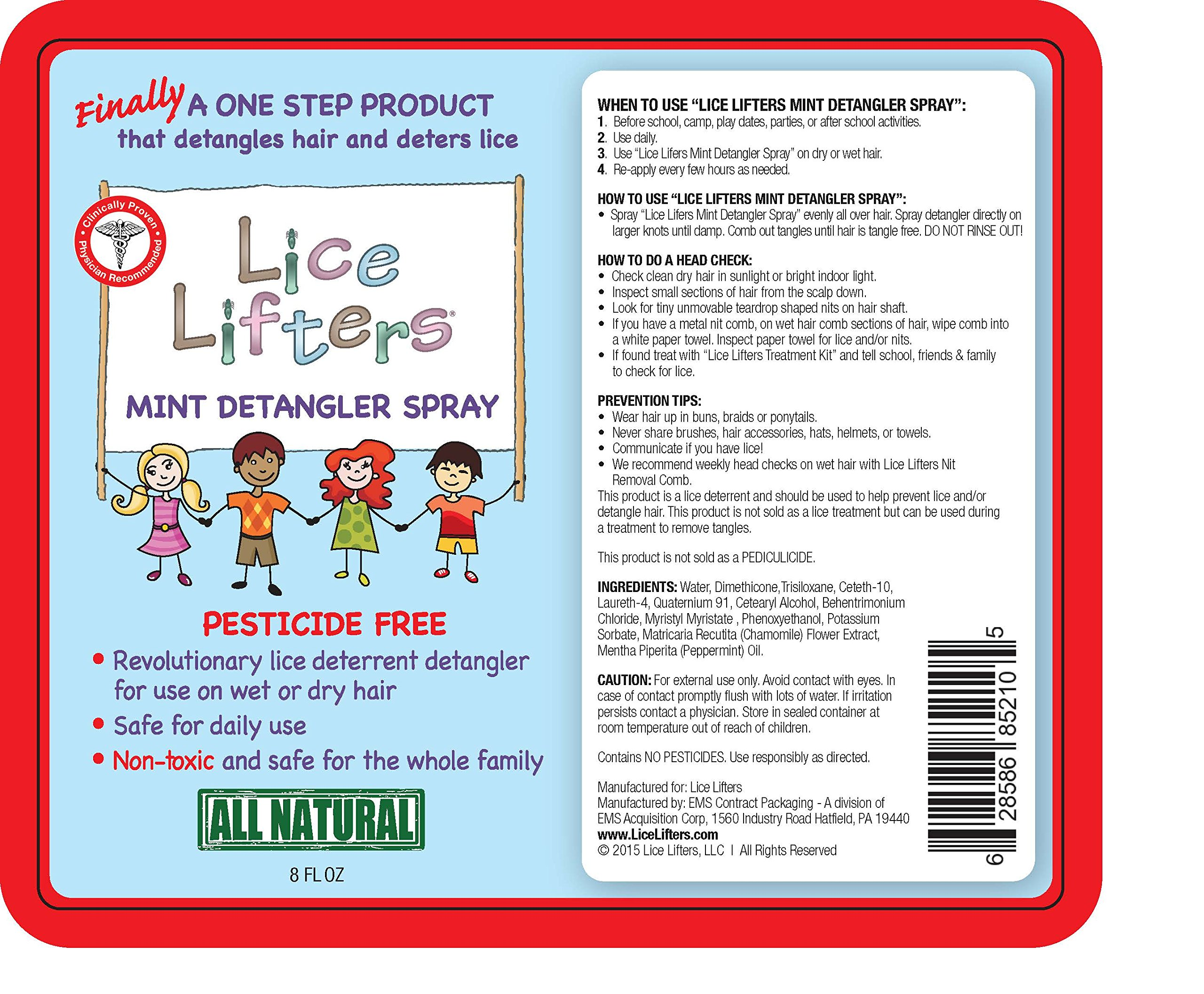 Lice Lifters Detangler Spray (Lice Deterrent). Detangles Hair and Deters Lice.Non-toxic, Pesticide and Chemical Free. Natural Alternative to Rid,Nix, Lice Md and Fairy Tales.