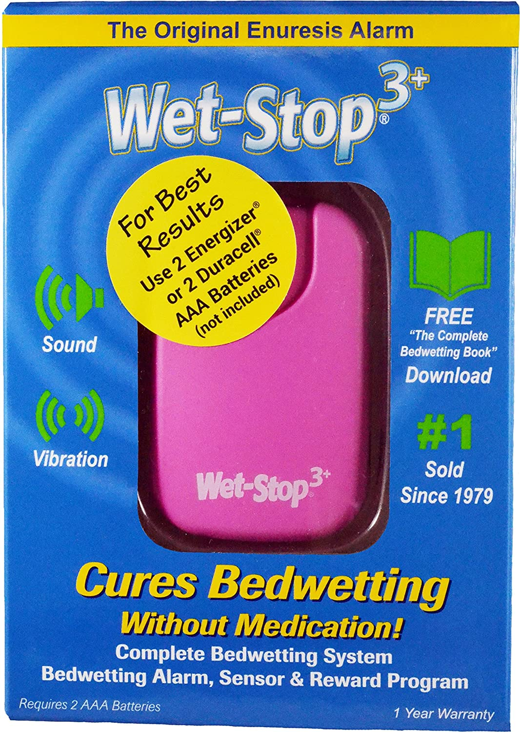 Wet Stop 3 Bedwetting Alarm (Pink) 6 Alarms & Vibration, Enuresis Alarm, Incontinence, Potty Training,