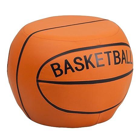 Flash Furniture Kids Basketball Stool, Black/Orange