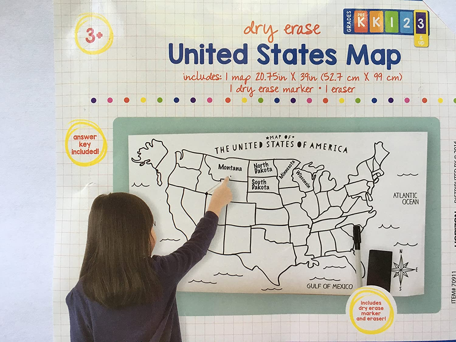 Amazon.com : USA Map - Large Blank Dry-Erase Poster with Marker and ...