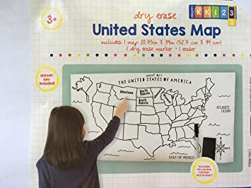 Amazoncom USA Map Large Blank DryErase Poster With Marker - Dry Erase Blank Us Map