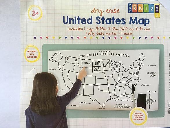 Amazoncom USA Map Large Blank DryErase Poster With Marker - Us map whiteboard