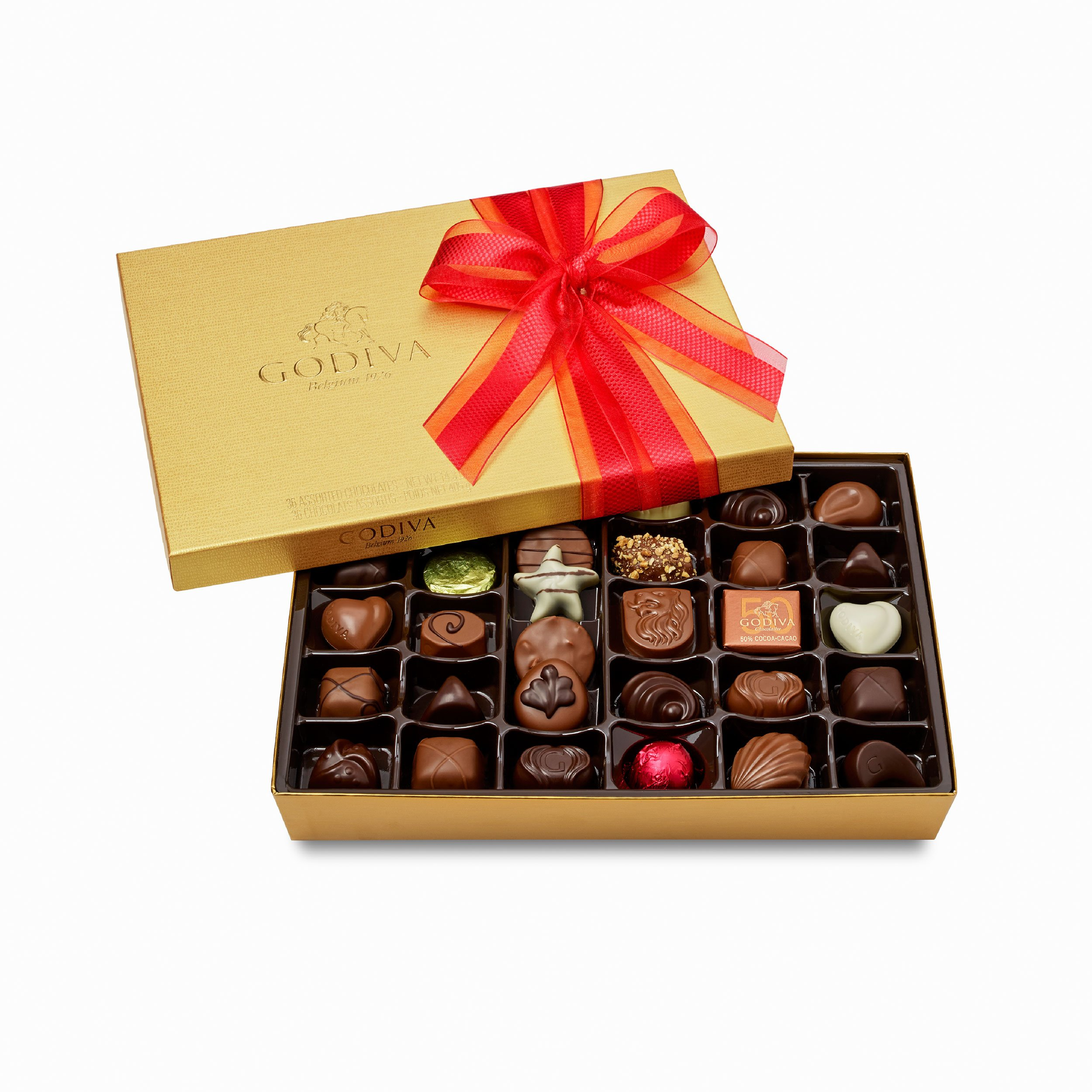 Godiva Chocolatier Gold Ballotin Assorted Gourmet Chocolates 36 Piece Gift Box, Great for Gifting