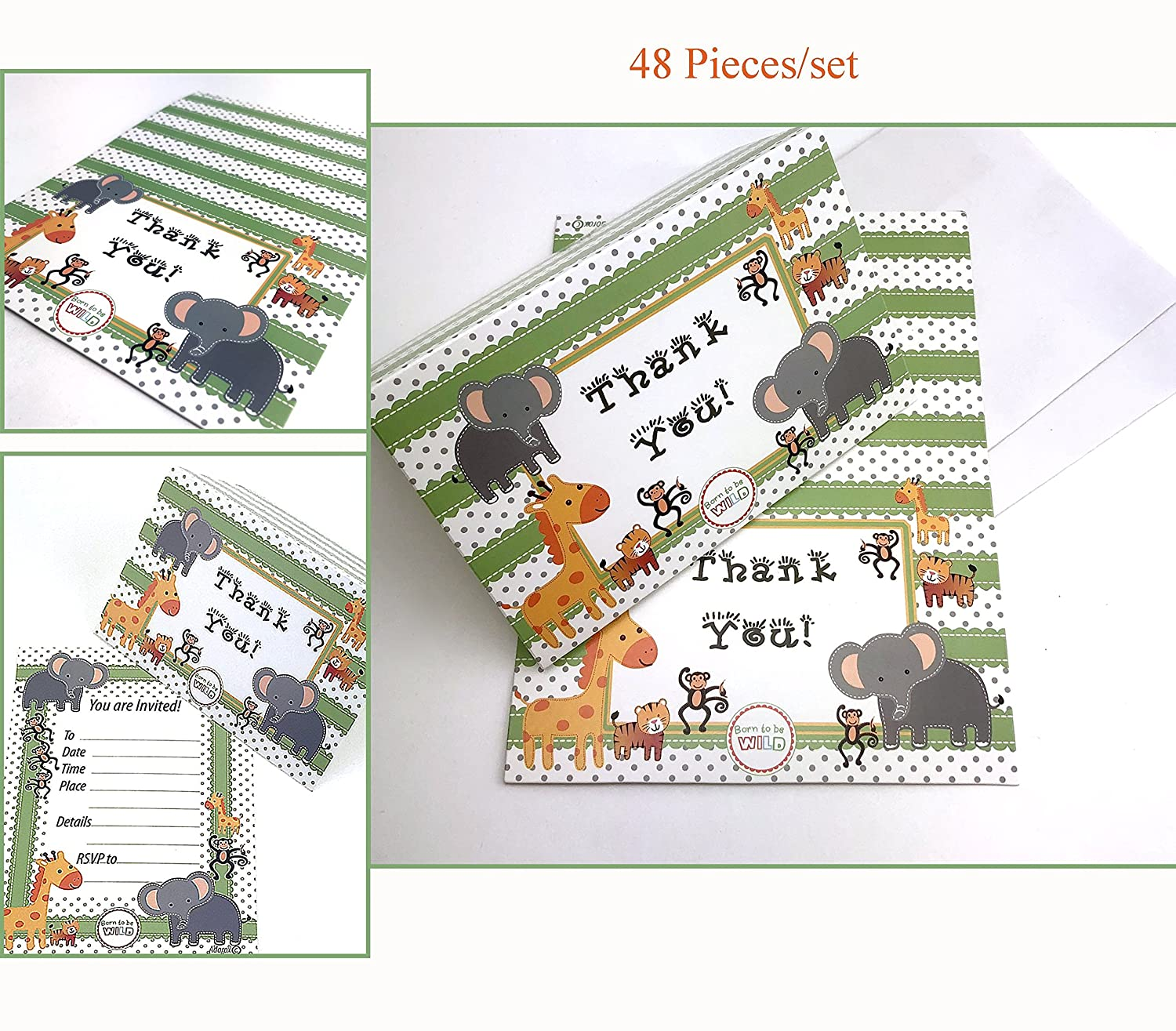 Adorox 48 Pieces Baby Jungle Zoo Animals Thank You Cards Baby Shower Birthday Party Safari Theme Boys Girls