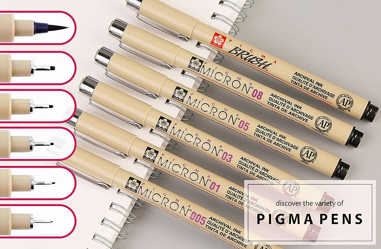 Sakura Pigma Micron Fineliner Conjunto de 6 con 5 anchos de l/ínea y 1 Pincel Pigment liner Pluma de tinta Negro Ceras de precisi/ón Rotuladores Pluma de tinta Fibra Pen Juego de 6 piezas
