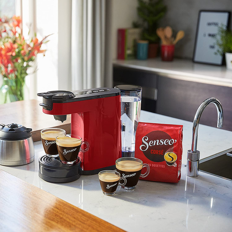 Senseo HD6592/81 - Cafetera (Independiente, Cafetera de filtro, 1 L, Dosis de café, De café molido, 1450 W, Negro, Rojo, Acero inoxidable)
