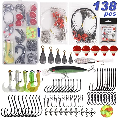 Amazon com : Saltwater Surf Fishing Tackle Kit -138pcs