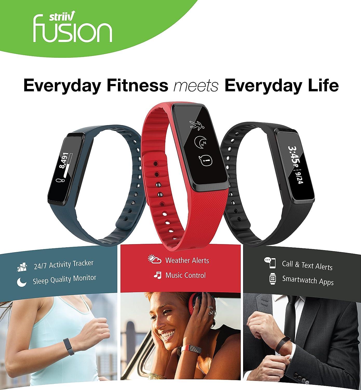 Amazon Striiv Fusion Bio Activity Smartwatch Black Red Denim