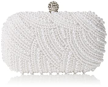 e48203c6df Buy Quiz Womens Pearl Box Bag Clutch White - White Online at Low ...
