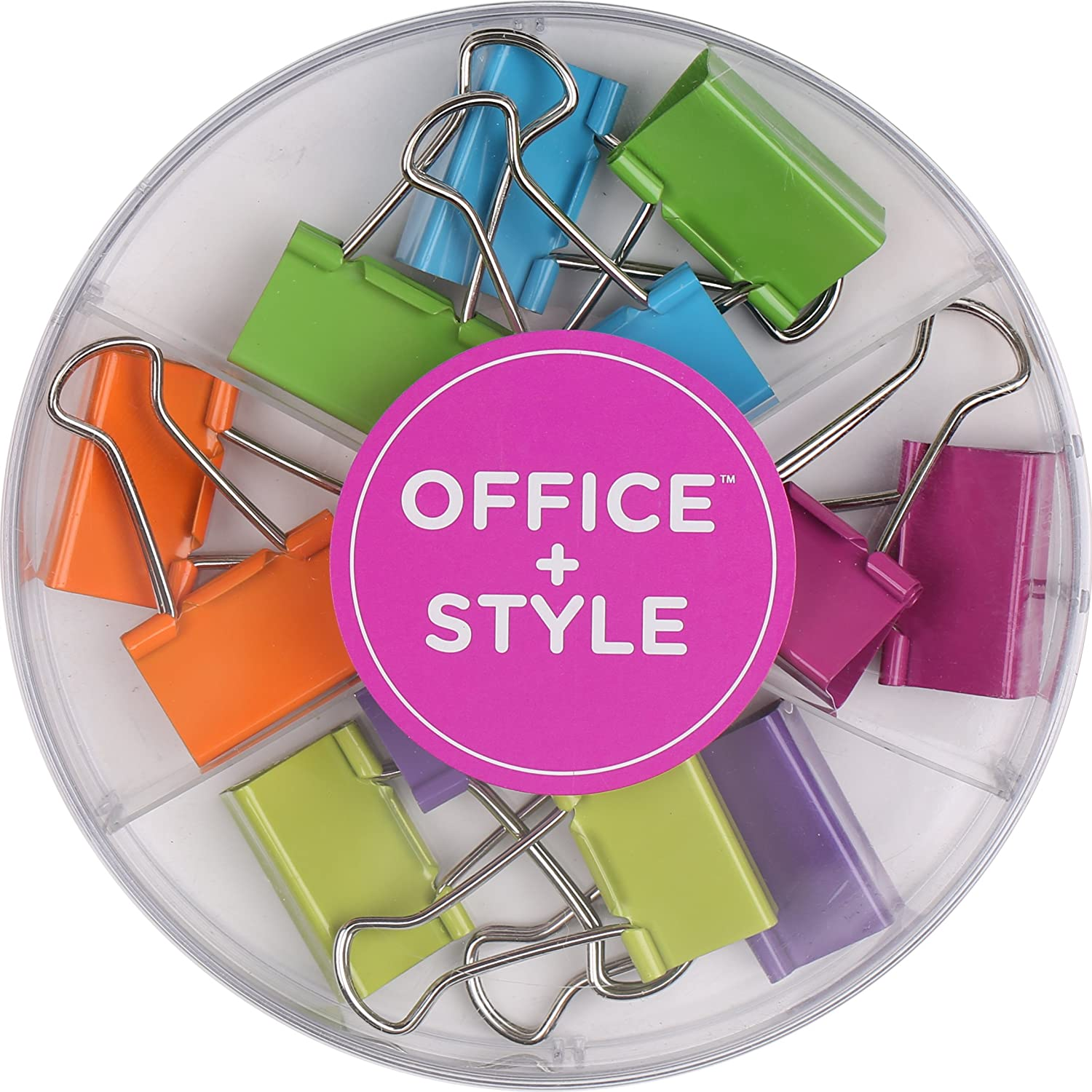 Office Style Medium Sized Binder Clips with Clear Plastic Storage Container - 12 Pieces - Large