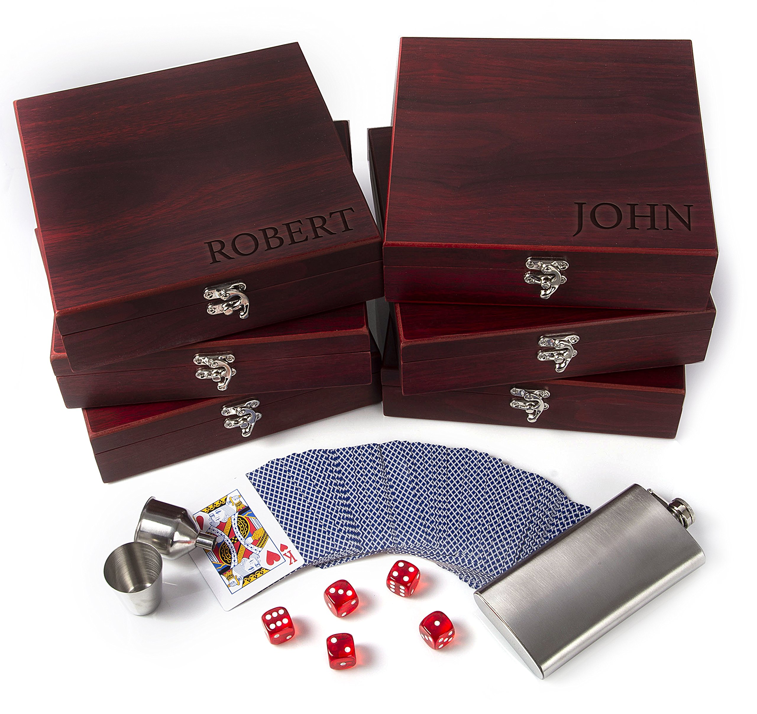 Set of 6 - Groomsmen Gifts, Personalized Flask Gift Set|Rosewood Finish Gift Box, Flask, Dice, Playing Card Deck + Funnel Set -8