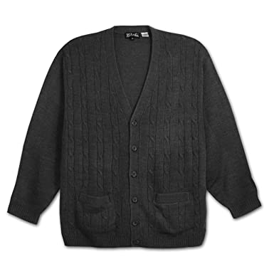 LD Sport Big and Tall Long Sleeve Cardigan Sweater (Charcoal Grey ...