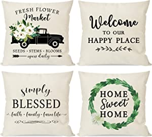 PANDICORN Set of 4 Farmhouse Pillow Covers 18x18 for Home Décor, Spring Summer Green Boxwood Wreath, Country Truck with Fresh Flowers, Rustic Welcome Throw Pillow Cases for Outdoor Porch Front Door
