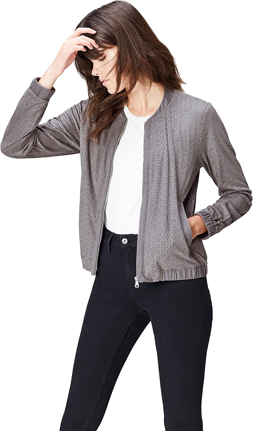 FIND Womens Jacket in Laser Cut-Out Suede in Bomber Style