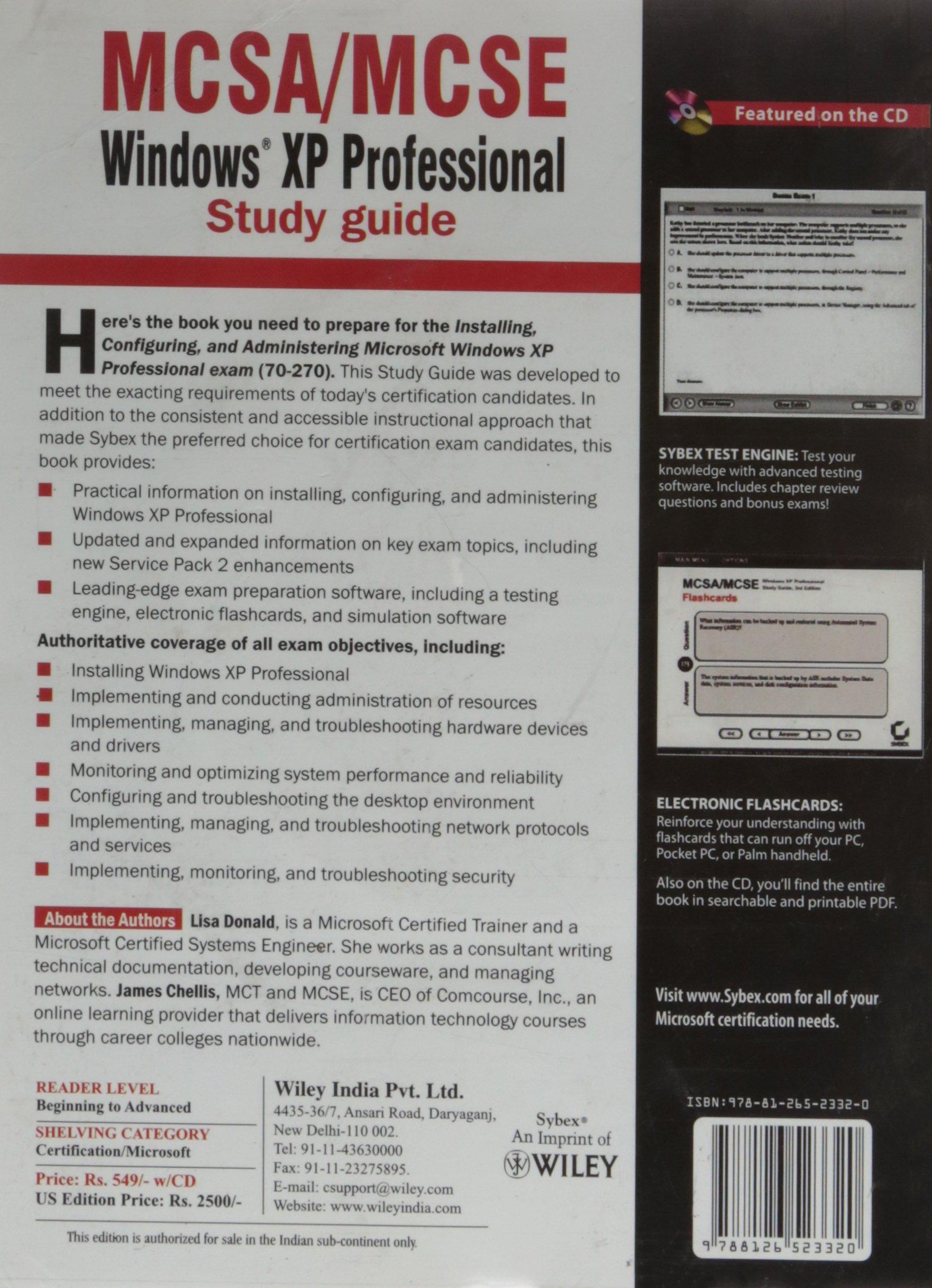 Buy Mcsamcse Windows Xp Professional Study Guide Exam 70 270 Book