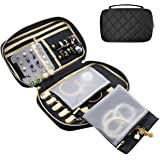 ProCase Travel Jewelry Bag, Soft Jewelry Organizer Case Box Carrying Pouch Storage Bag for Rings, Bracelet, Earring Organizer, Necklace Holder –Black