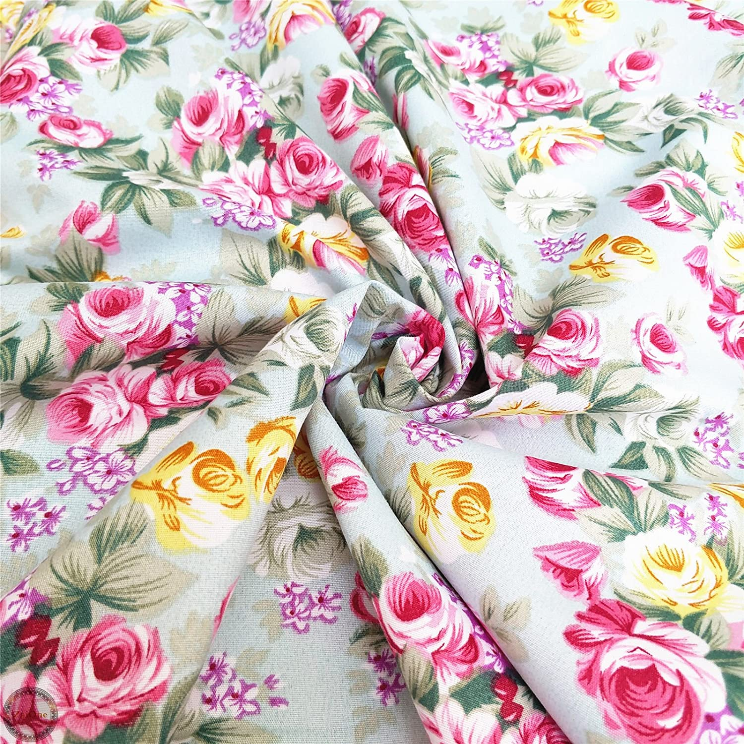 Pink Roses Vintage Style Shabby Chic Country Kitchen Cotton Fabric Red Roses