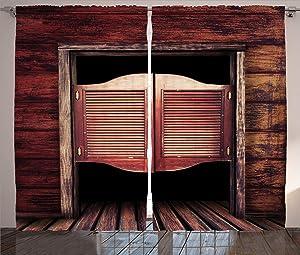 Ambesonne Western Curtains, Old Rustic Wooden Door and Wild West Cowboy Antique Bar Saloon Door Picture, Living Room Bedroom Window Drapes 2 Panel Set, 108