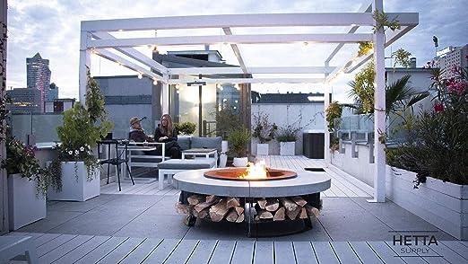 HETTA SUPPLY Round 155 Concrete, brasero con parrilla, multifuncional, Fire Pit para calefacción/barbacoa, barbacoa, Steel / Concrete: Amazon.es: Hogar