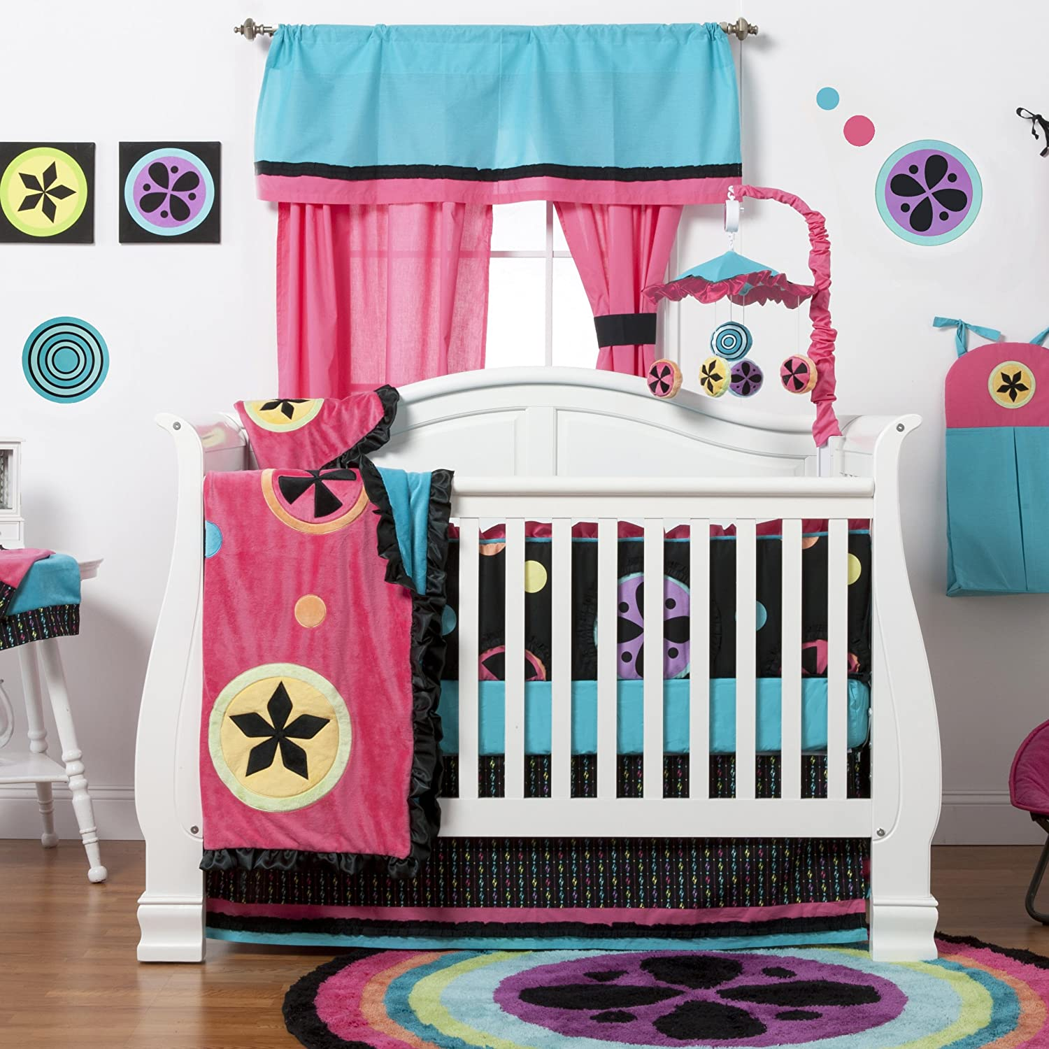 Pink and Turquoise One Grace Place 10-24026 Magical Michayla-Burp Cloth Black