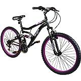 "Muddyfox Inca 24"" Girls Dual Suspension Mountain Bike in Black and Pink - 18 Speed"