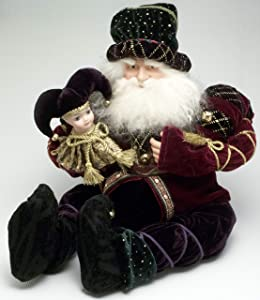 Signature Santa Figure Shelf Sitter and Baby ELF Doll Velvet Christmas DÉCOR Whimsical