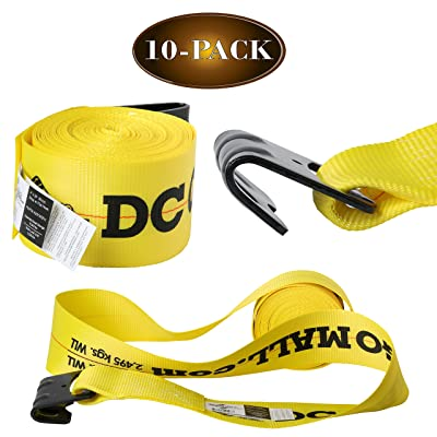 "10 Winch Straps, 4"" x30' Flatbed Trailer Strap Tie Downs w/Flat Hooks, Heavy Duty Cargo Straps for Flatbeds, Trailers, and Trucks 