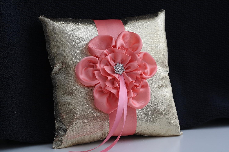 Amazon.com: Coral Flower Wedding Basket & Ring Bearer Pillow \\ Gold ...
