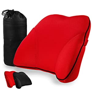 Memory Foam Lumbar Support Back Cushion with 3D Mesh Cover Balanced Firmness Designed for Lower Back Pain Relief- Ideal Back Pillow for Computer/Office Chair, Car Seat, Recliner etc.
