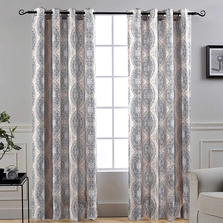 "DriftAway Adrianne Thermal/Room Darkening Grommet Unlined Window Curtains, Set of Two Panels, Each (52""X96"", Beige/Gray)"