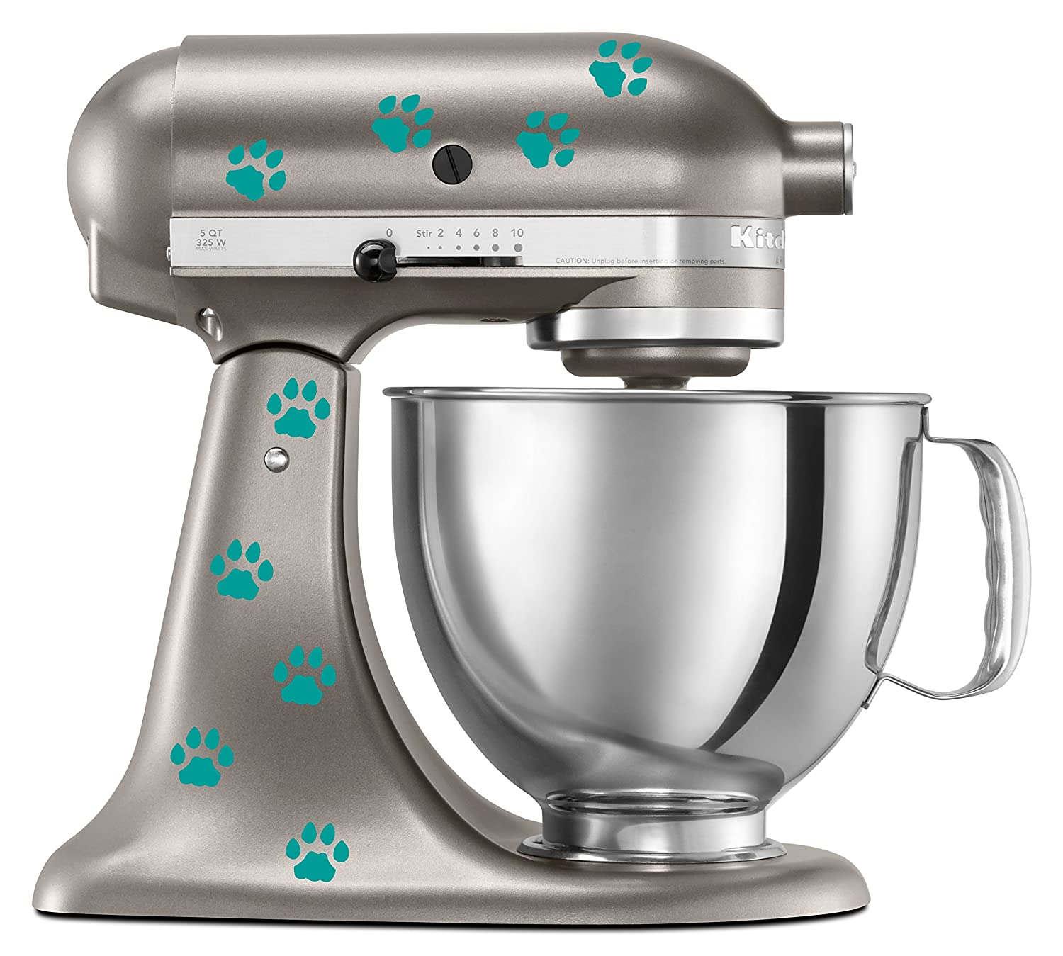 Cat Paw Prints Decal In Turquoise for KitchenAid Mixer - Classic Cool Artistic - also for MacBook, Laptop, Car, or Anything