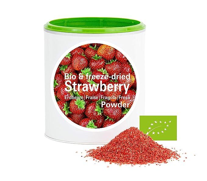 Fresa en Polvo - Liofilizado|biológico|vegano|crudo|pura fruta|no aditivo|rica en vitamina|Good Nutritions 120g