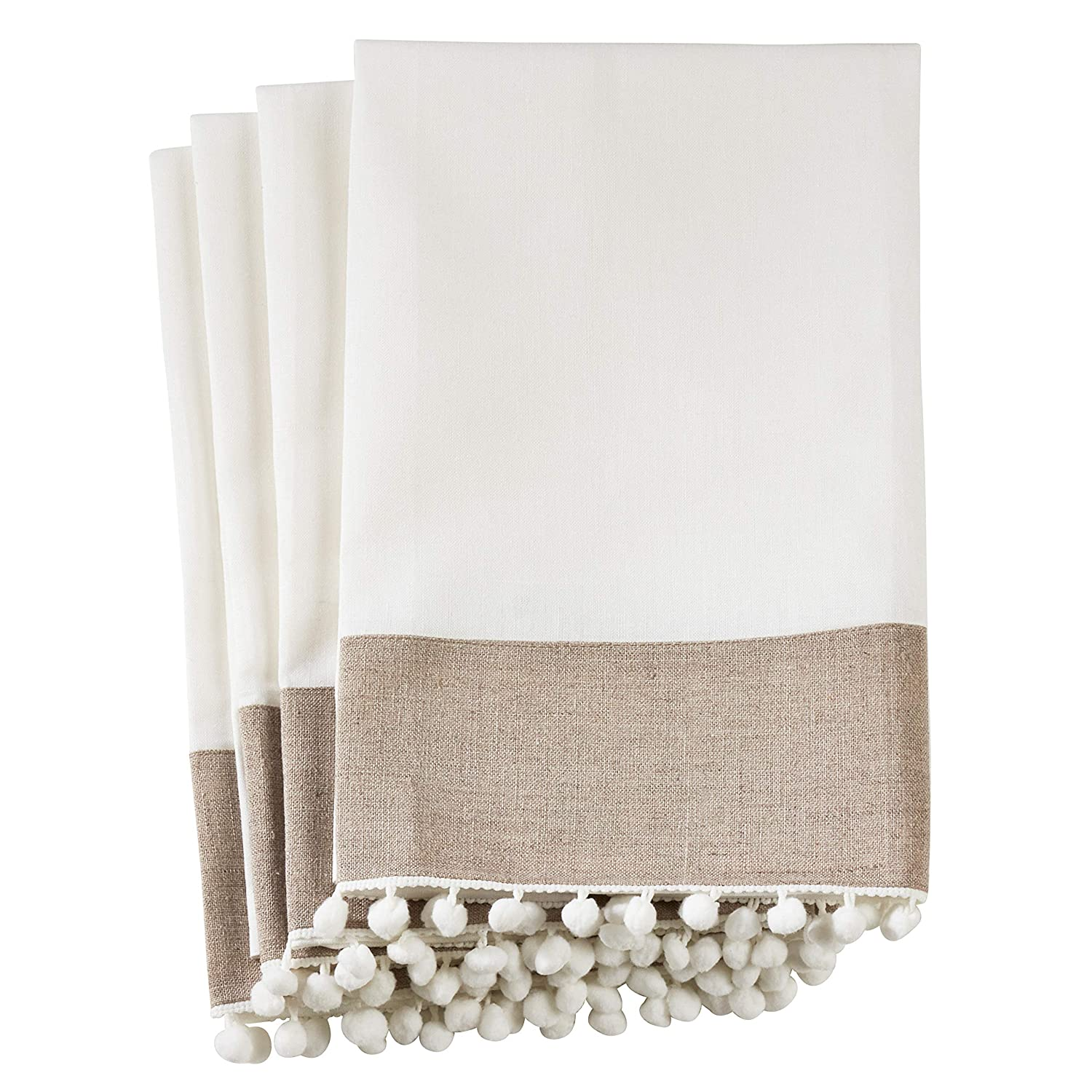 SARO LIFESTYLE 0577 Petite Pompon Square Table Topper 60-Inch Ivory