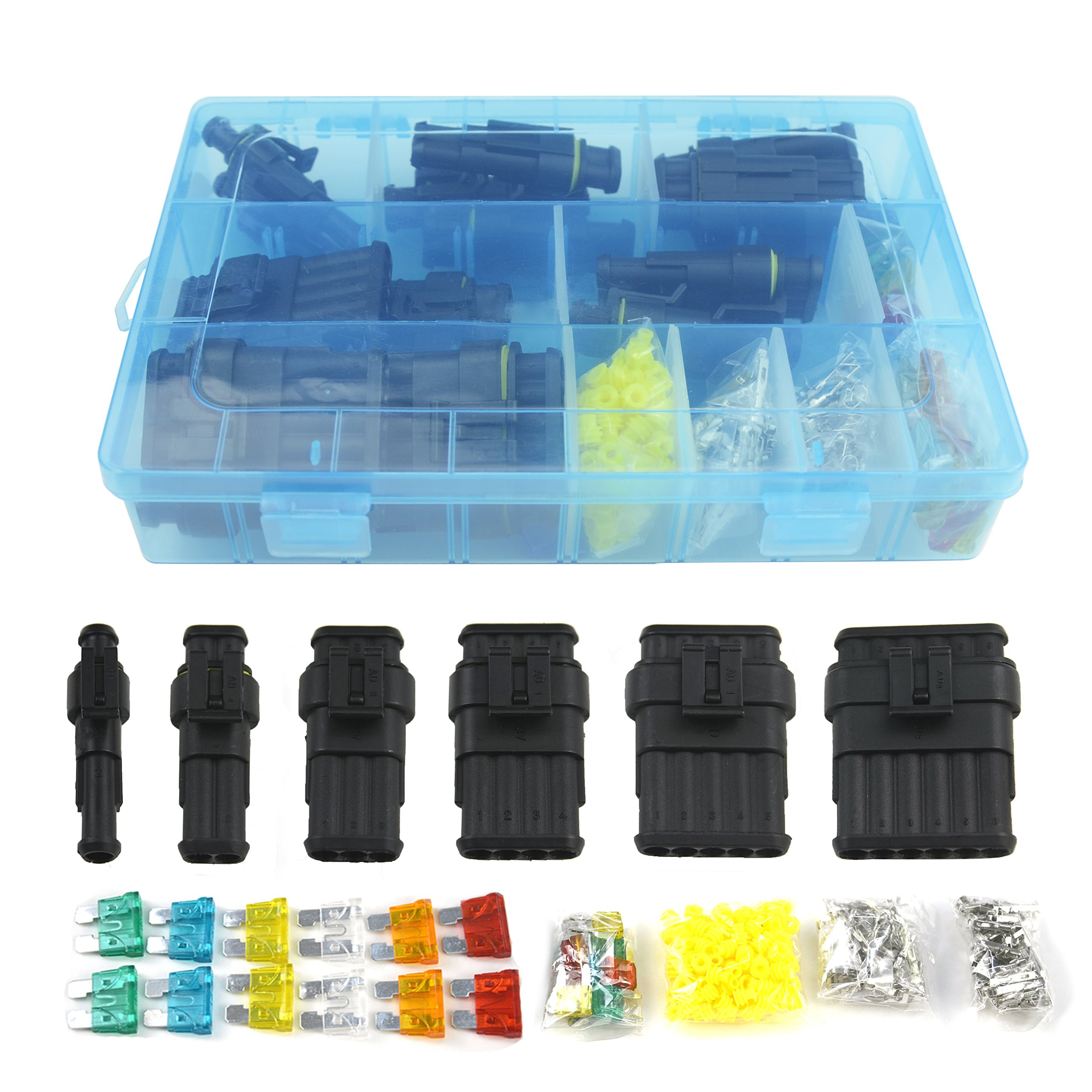 14 Set Car Waterproof Electrical Connector Plug Terminals Heat Fuse Box Terminal Pin Shrink 1 2 3 4 5 6 Way Fuses Blue Clear Jh867 001new Connectors