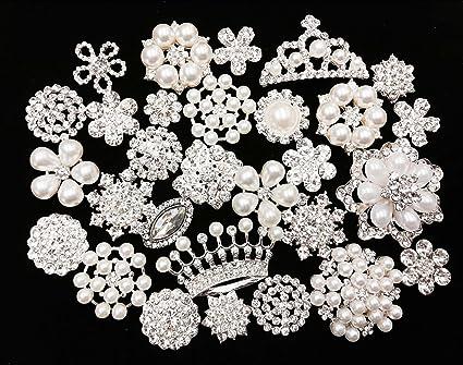 Jewelry Accessories Supply Flower Crystal Wedding Bouquet,Cake 3 No Pin Flat Back Flower Rhinestone button Embellishment