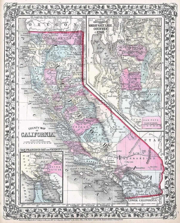 Amazoncom Historical 1867 Mitchell Map Of California 16 X 20 Fine