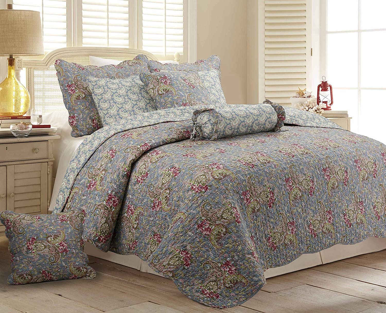 Cozy Line Home Fashions Kylie 6-Piece Quilt Bedding Set,100% Cotton Reversible Coverlet Bedspread (Teal Blue, King - 6 Piece: 1 Quilt + 2 Shams + 3 Decor Pillows )