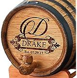 Personalized Whiskey Barrel - Engraved Wine Barrel - Custom Oak 2 Liter Barrel - Fancy Design