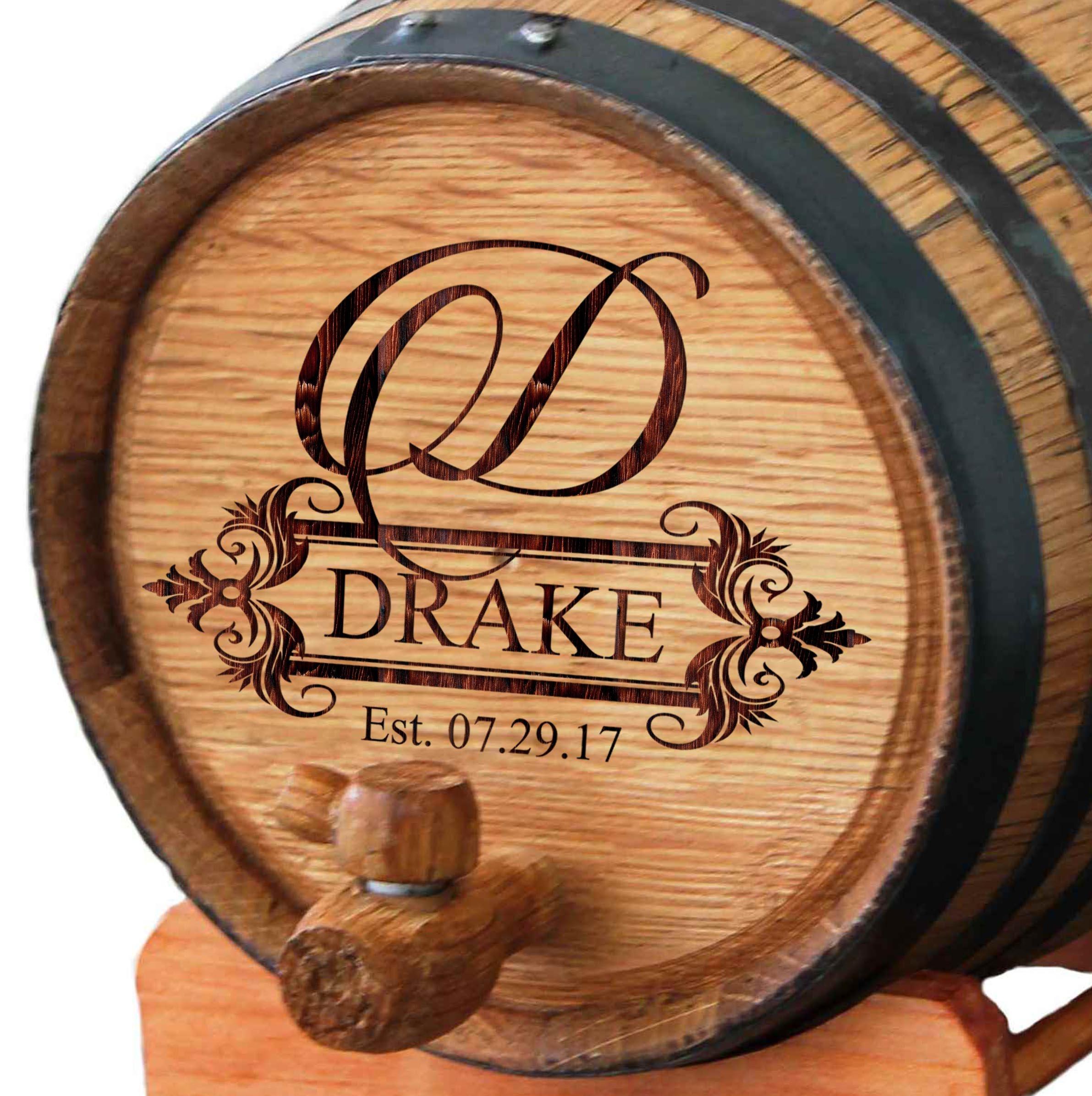 Personalized Whiskey Barrel - Engraved Wine Barrel - Custom Oak 2 Liter Barrel - Fancy Design by My Personal Memories