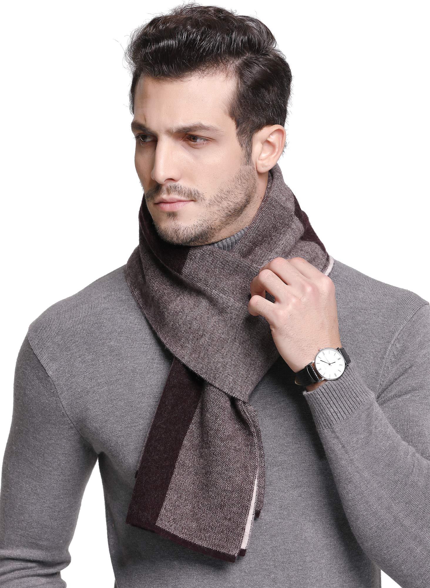 RIONA Men's 100% Australian Soft Merino Wool Knitted Plaid Warm Scarf with Gift Box (9005_Pruple)