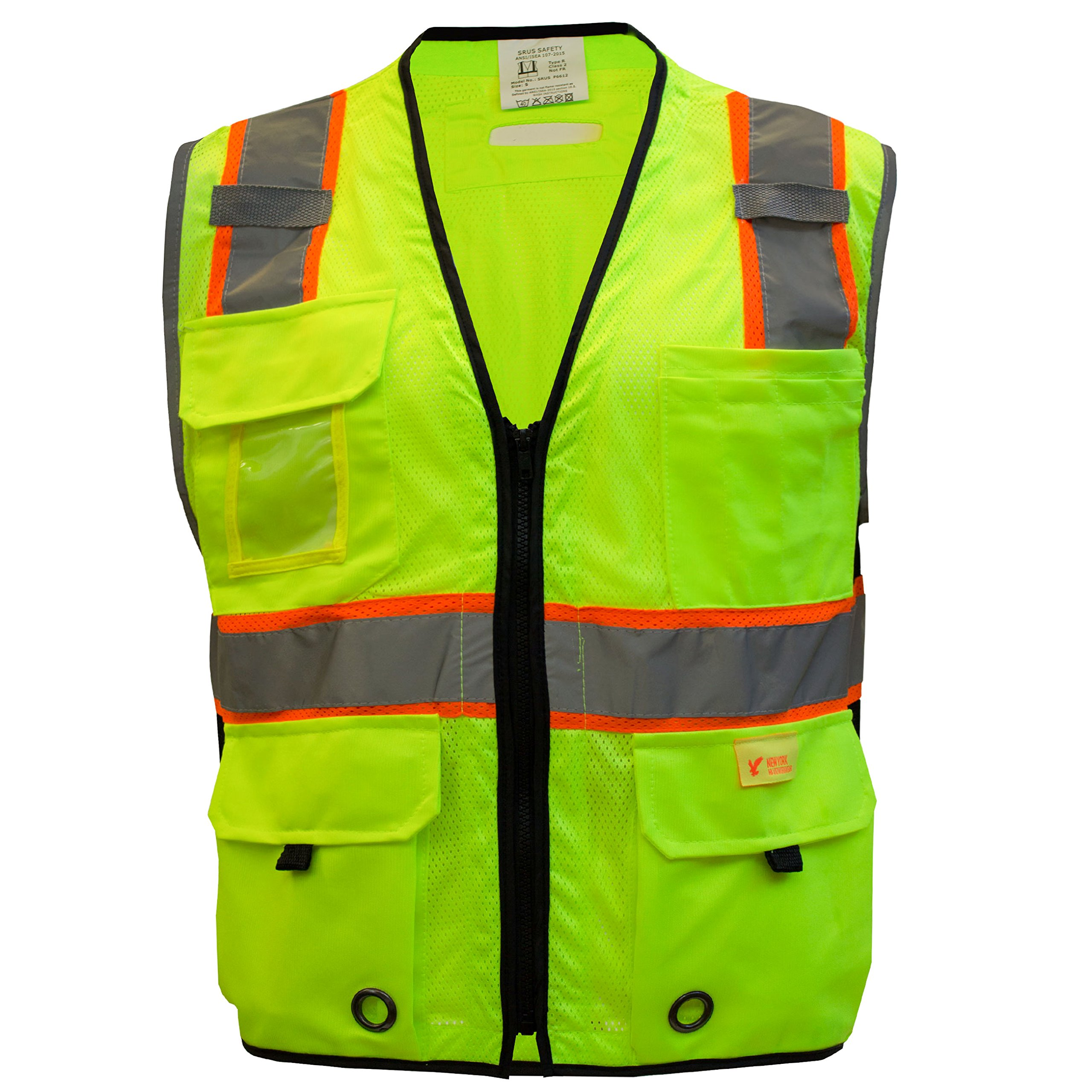 RK Safety P6612 Class 2 High Visible Two Tone Reflective Strips Breathable Mesh Vest, Pockets Harness D-Ring Pass Thru, ANSI/ISEA, Construction Motorcycle Traffic Emergency (Lime, Medium) by New York Hi-Viz Workwear (Image #2)