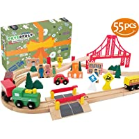 Wooden Train Tracks Full Set, Deluxe 55 Pcs Set with 3 Destination Fits Thomas, Brio, IKEA, Chuggington, Imaginarium, Melissa and Doug - Best Gifts for Kids Toddler Boys and Girls