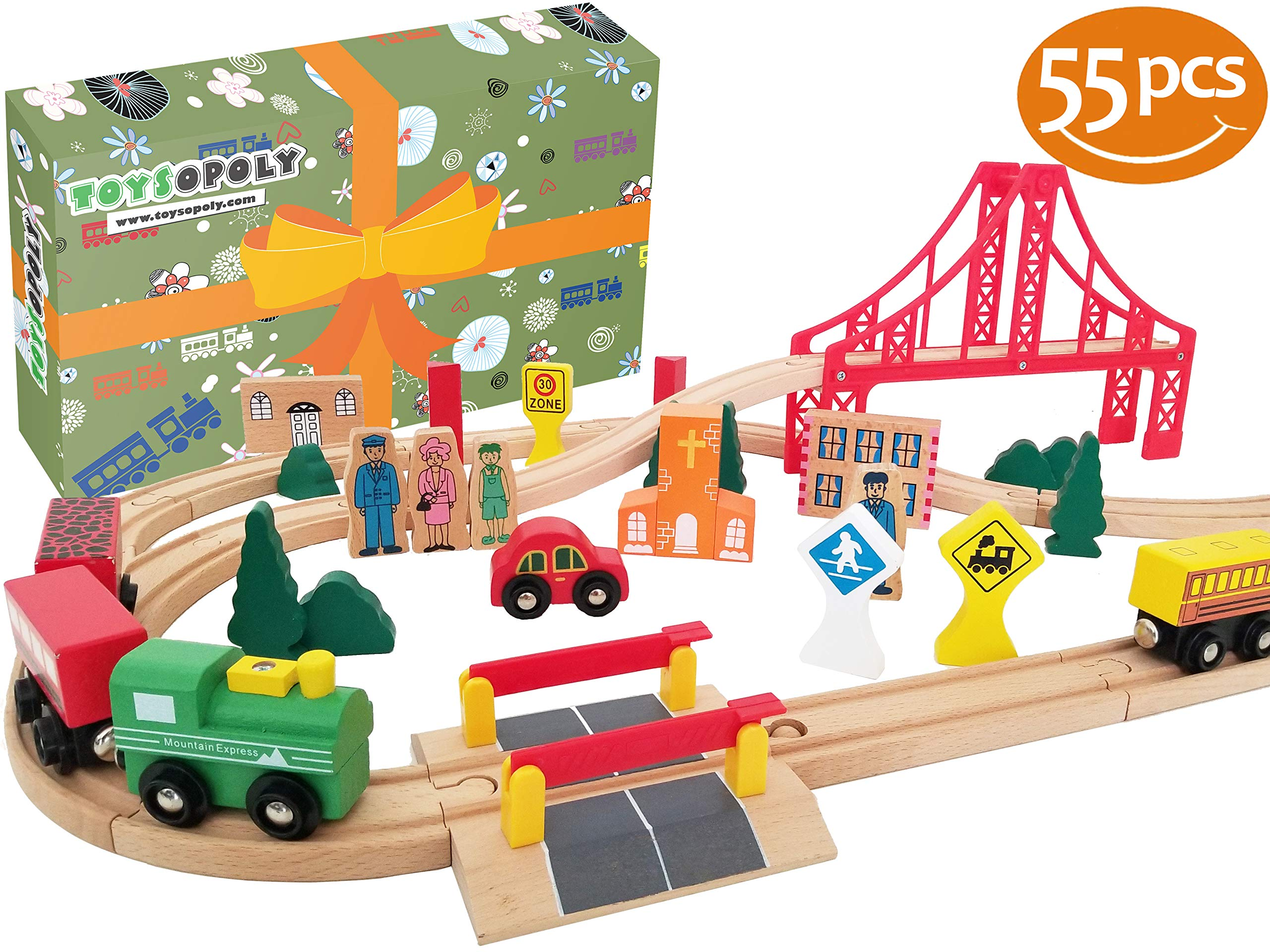 Flash Sale | Wooden Train Tracks, Deluxe 55 Pcs Set with 3 Destination Fits Thomas, Brio, IKEA, Chuggington, Imaginarium, Melissa and Doug - Best Gifts for Kids Toddler Boys and Girls