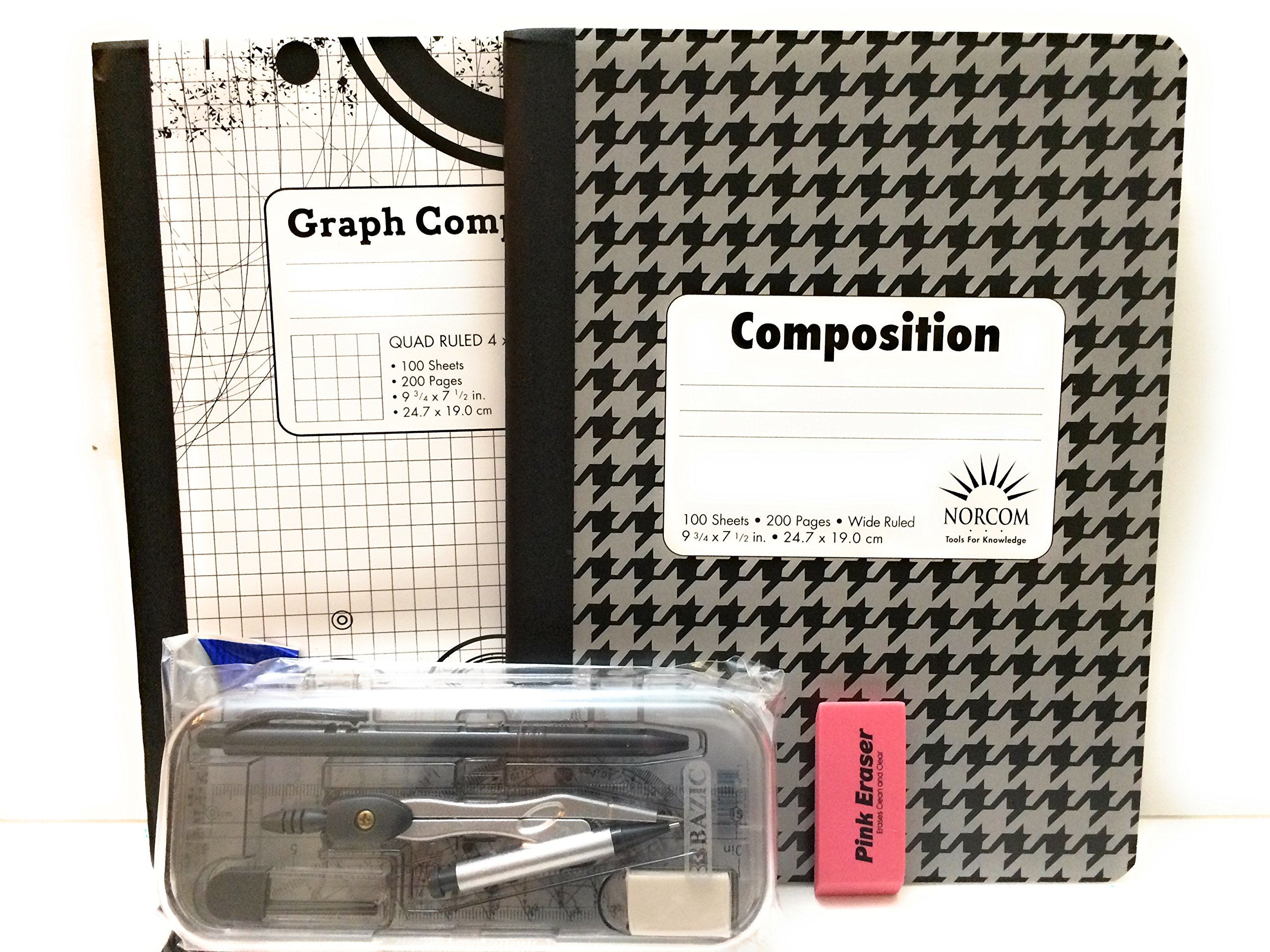 Multi-Brands Gray & Black Graph Book And Protractor 12 Pc Bundle