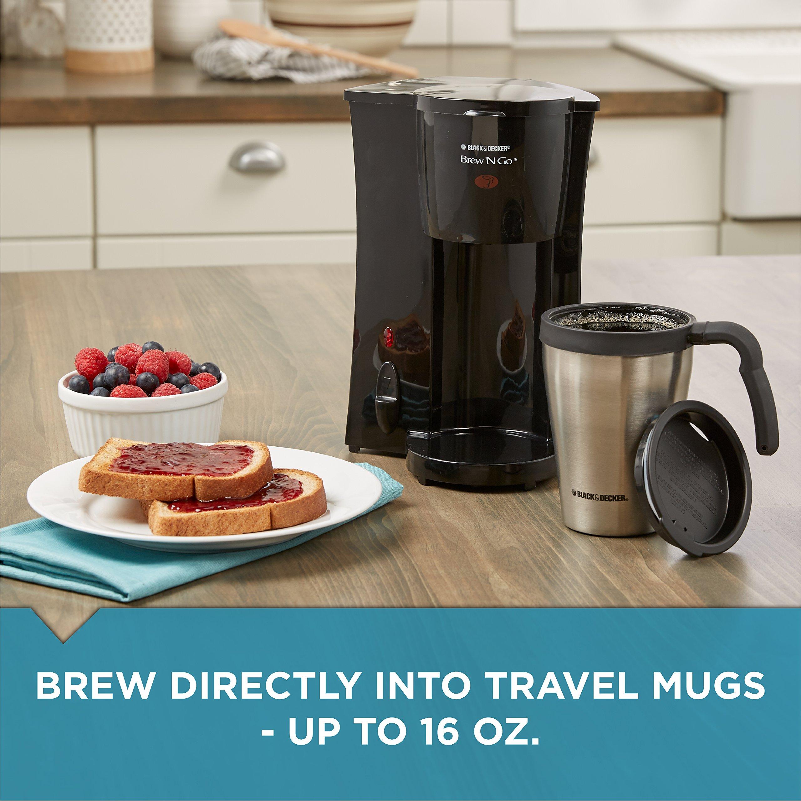BLACK+DECKER DCM18S Brew 'n Go Personal Coffeemaker with Travel Mug, Black/Stainless Steel by Black & Decker (Image #6)